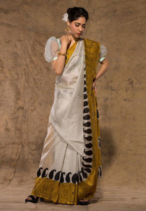 Block Printed Art Silk Saree in Off White