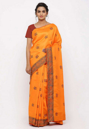 Block Printed Art Silk Saree in Orange
