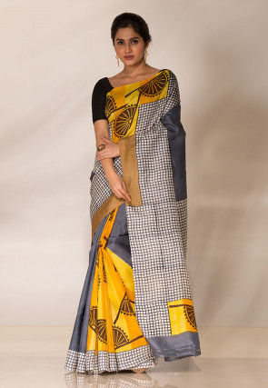 Block Printed Art Silk Saree in Yellow and Grey