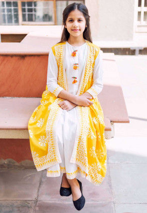 Block Printed Border Cotton Long Dress with Jacket in White