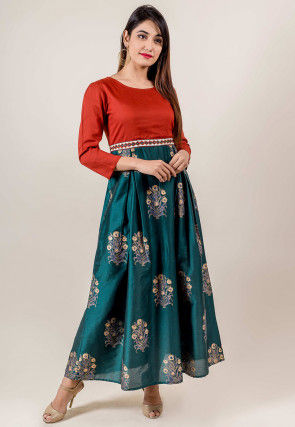 Block Printed Chanderi A Line Kurta in Teal Green and Rust