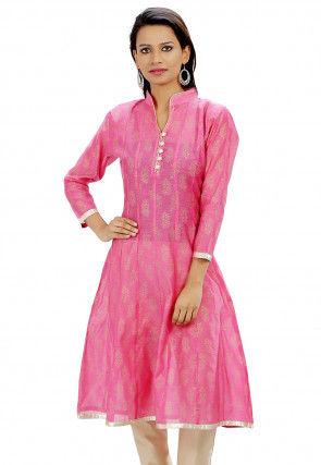 Block Printed Chanderi Cotton Anarkali Kurta in Pink