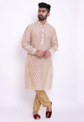 Block Printed Chanderi Cotton Kurta in Off White