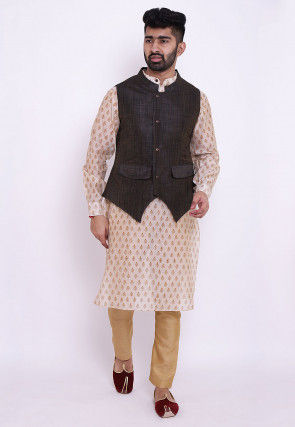 Block Printed Chanderi Cotton Kurta Set in Off White and Brown