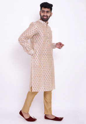 Block Printed Chanderi Cotton Kurta Set in Off White