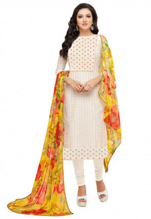 Block Printed Chanderi Cotton Straight Suit in Cream
