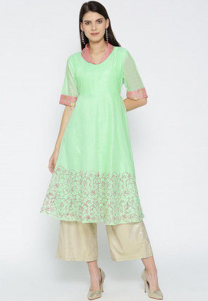 Block Printed Chanderi Silk A Line Kurta in Light Green