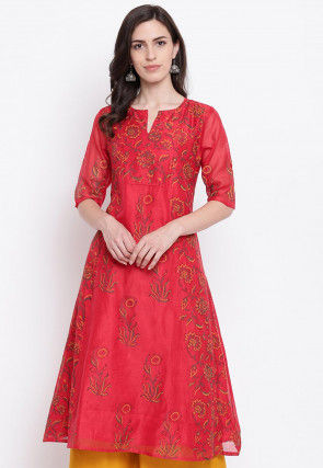 Block Printed Chanderi Silk A Line Kurta in Red