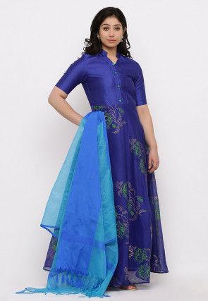 Block Printed Chanderi Silk Abaya Style Suit in Dark Blue