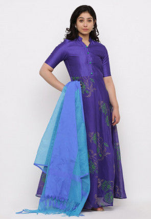 Block Printed Chanderi Silk Abaya Style Suit in Royal Blue