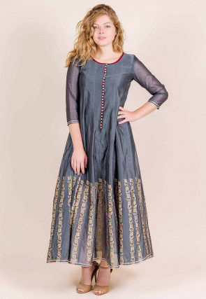 Block Printed Chanderi Silk Anarkali Kurta in Grey