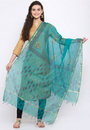 Block Printed Chanderi Silk Dupatta in Turquoise