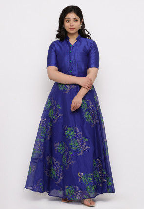 Block Printed Chanderi Silk Gown in Dark Blue