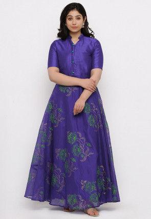 Block Printed Chanderi Silk Gown in Dark Blue