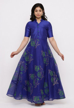 Block Printed Chanderi Silk Gown Set in Dark Blue