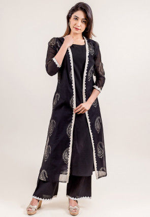 Block Printed Chanderi Silk Kurta Jacket Set in Black