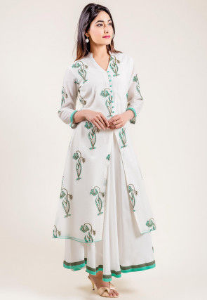 Block Printed Chanderi Silk Layered Long Kurta in White