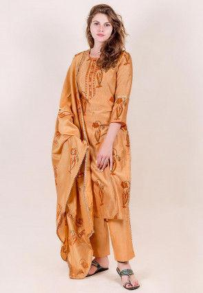 Block Printed Chanderi Silk Pakistani Suit in Light Orange
