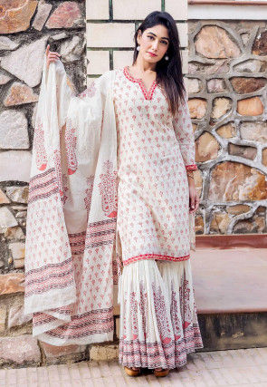 Block Printed Chanderi Silk Pakistani Suit in Off White