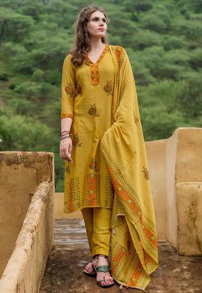 Block Printed Chanderi Silk Pakistani Suit in Olive Green