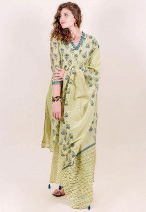 Block Printed Chanderi Silk Pakistani Suit in Pastel Green