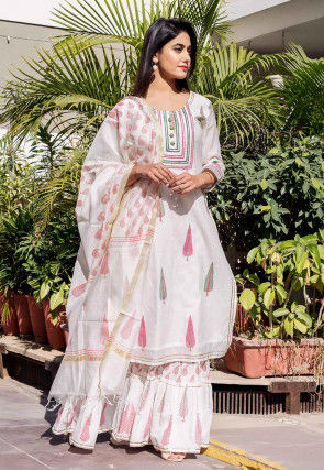 Block Printed Chanderi Silk Pakistani Suit in White