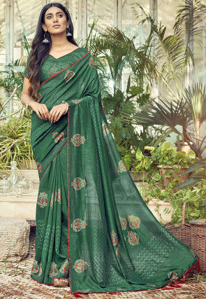 Block Printed Chanderi Silk Saree in Green