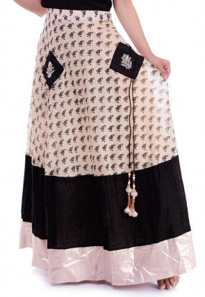 Block Printed Chanderi Silk Skirt in Light Beige