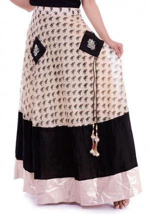 Block Printed Chanderi Silk Skirt in Light Beige