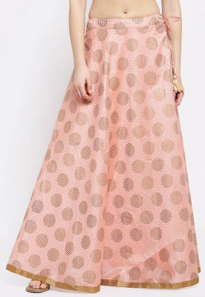 Block Printed Chanderi Silk Skirt in Peach