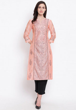 Block Printed Chanderi Silk Straight Kurta in Peach
