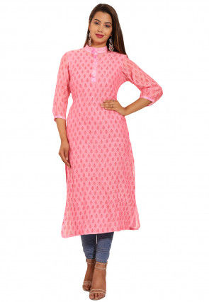 Block Printed Chanderi Silk Straight Kurta in Pink