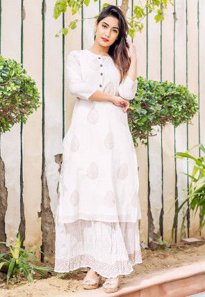 Block Printed Chanderi Silk Straight Kurta Set in Off White