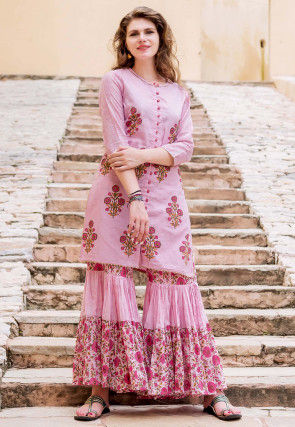 Block Printed Chanderi Silk Straight Kurti Set in Pink