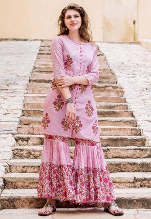 Block Printed Chanderi Silk Straight Kurti Set in Pink