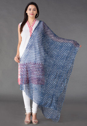 Block Printed Chiffon Dupatta in Indigo Blue