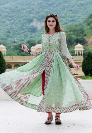 Block Printed Chiffon Kurta with Pant in Pastel Green