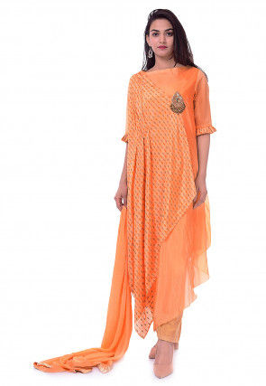 Block Printed Chinon Crepe Asymmetric Pakistani Suit in Peach