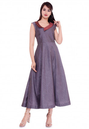 Golden Printed Collar Dupion Silk A Line Dress in Grey