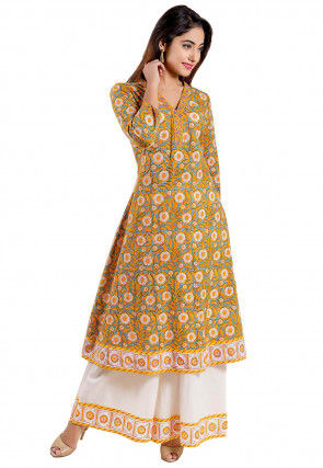 Block Printed Cotton A Line Kurta Set in Yellow and Light Blue