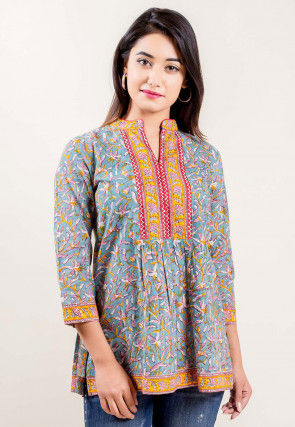Block Printed Cotton A Line Kurti in Dusty Blue