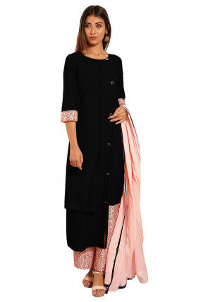 Block Printed Cotton A Line Suit in Black