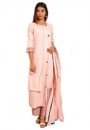Block Printed Cotton Asymmetric A Line Suit in Peach