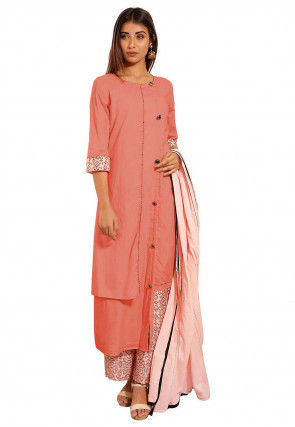 Block Printed Cotton A Line Suit in Peach
