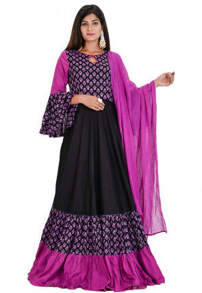 Block Printed Cotton Abaya Style Suit in Black and Purple