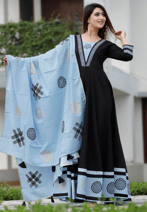 Block Printed Cotton Abaya Style Suit in Black