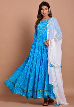 Block Printed Cotton Abaya Style Suit in Blue