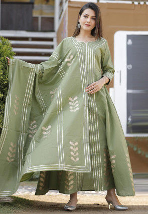 Block Printed Cotton Abaya Style Suit in Dusty Green