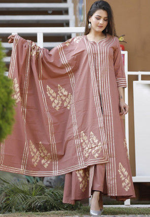 Block Printed Cotton Abaya Style Suit in Dusty Peach