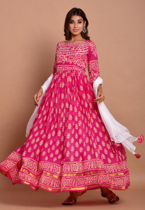Block Printed Cotton Abaya Style Suit in Fuchsia